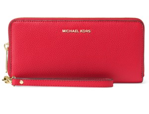 Michael Kors Michael Kors Mercer Travel Continental Bright Red Leather Wallet