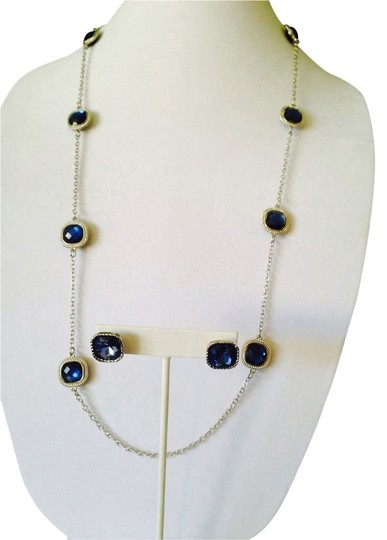 Preload https://img-static.tradesy.com/item/2314568/bluesilver-2-piece-set-faceted-crystal-and-rope-design-halo-necklace-and-earrings-0-0-540-540.jpg