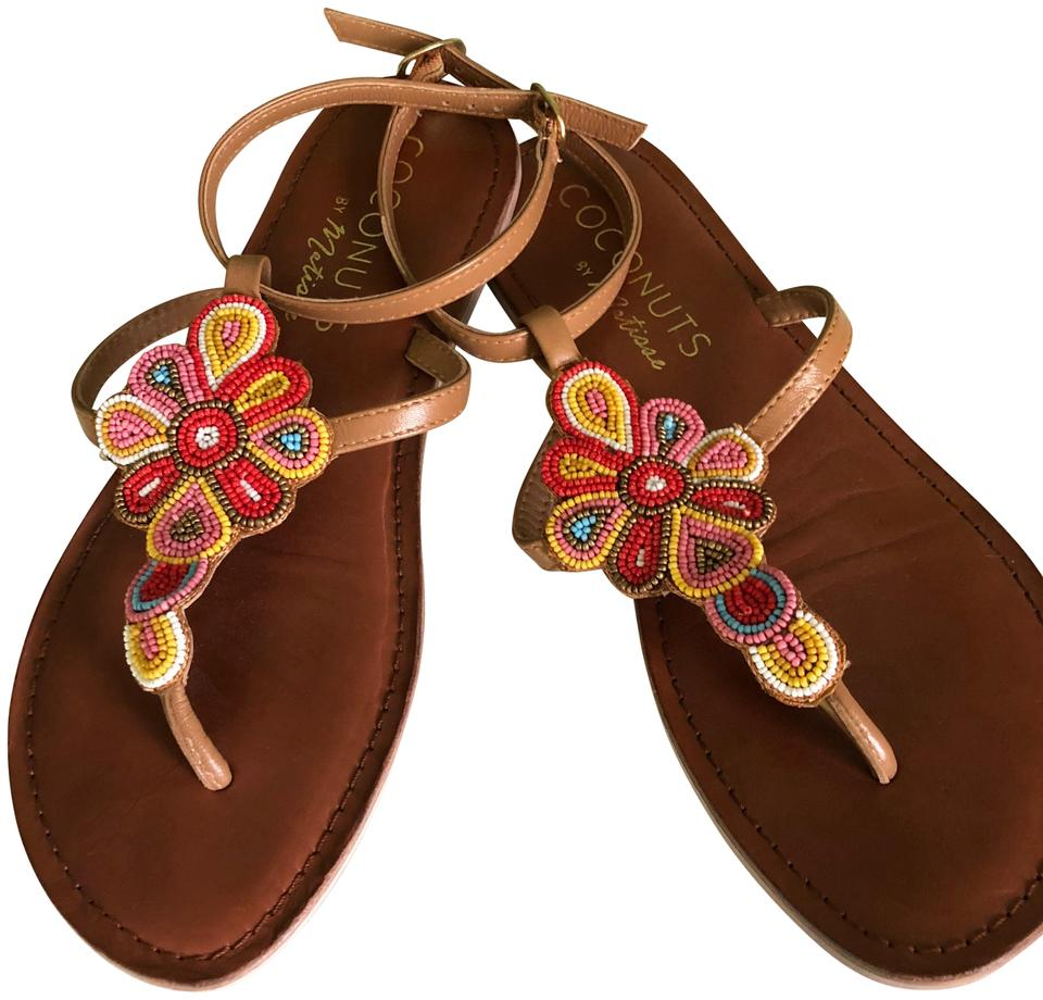 688323580d7 Coconuts by Matisse Beaded Leather Thong   Ankle Strap Sandals Size ...