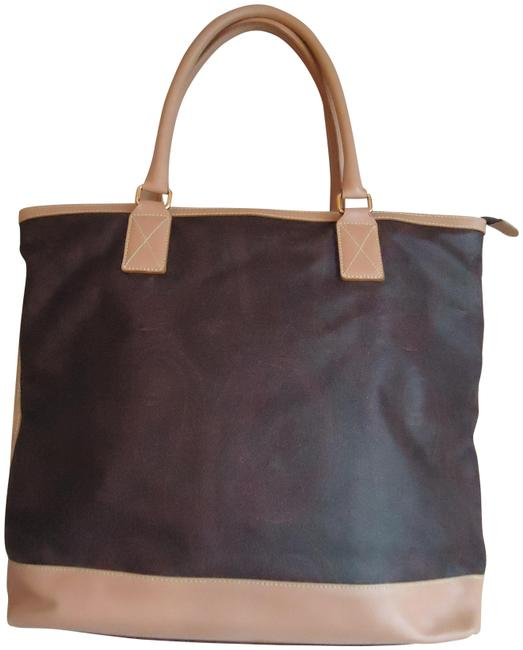 Item - Large Paisley Leather Trim Shopper Brown Canvas Tote