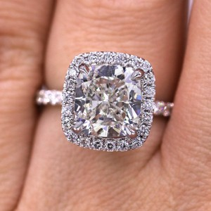 Elegant and Certified 3.13 Carat Halo Diamond Engagement Ring