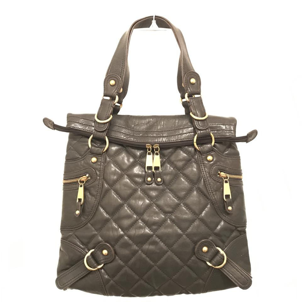 Hype Purse Handbag Quilted Shoulder Hobo Tote In Black Gold