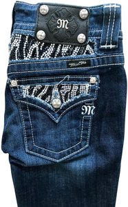 Miss Me Embellished Cotton Silver Hardware Studded Boot Cut Jeans-Dark Rinse