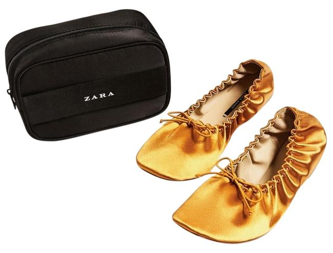 Item - Mustard New Sateen Ballerinas with Faux Leather Travel Bag Flats Size US 7.5 Regular (M, B)