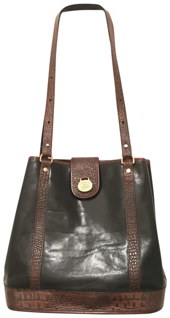 Item - Bucket Tuscan Removable Pouch Black Brown Gold Leather Tote