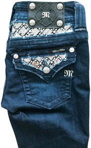 Miss Me Embellished Studded Silver Hardware Sequin Boot Cut Jeans-Dark Rinse