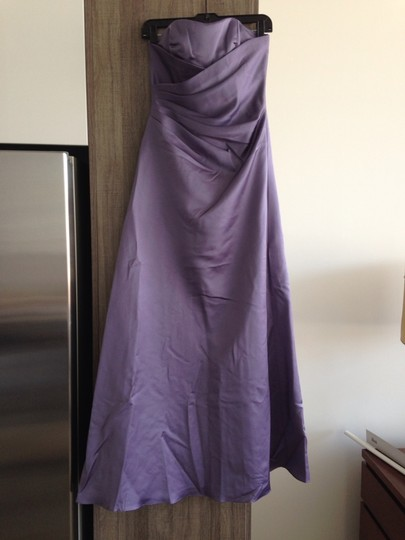 Alfred Angelo Lilac Satin Strapless Gown #6493 Formal Bridesmaid/Mob Dress Size 2 (XS)
