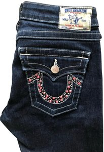 True Religion Embellished Cotton Studded Silver Hardware Boot Cut Jeans-Dark Rinse