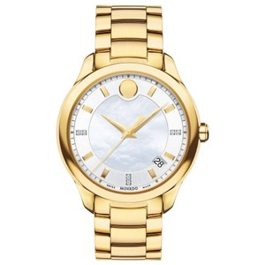 Movado Plated Stainless Bracelet Diamond Mother of Pearl Dial Bellina 0606980