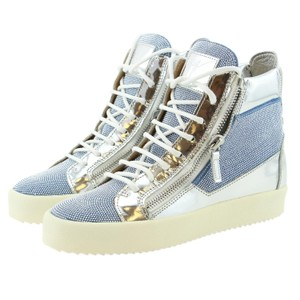 Giuseppe Zanotti For Women Sneakers Embellished Sneakers Dazzling Blue & Silver Athletic