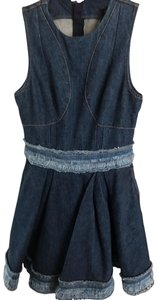 Alexander McQueen short dress light and dark blue denim Frayed Sleeveless Fit-and-flare on Tradesy