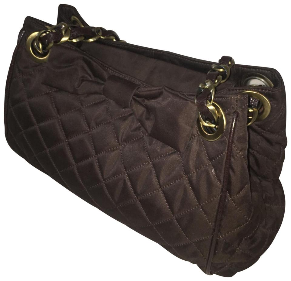 74e77864c388 Moschino Cheap and Chic Quilted Brown Nylon Leather Shoulder Bag ...