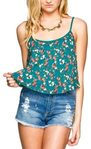Full Tilt Crop Top Teal/Floral