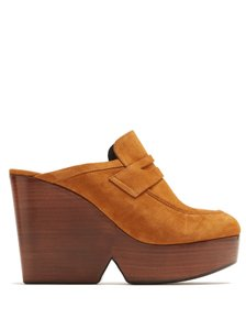 Robert Clergerie Suede Loafer Platform Tan Mules