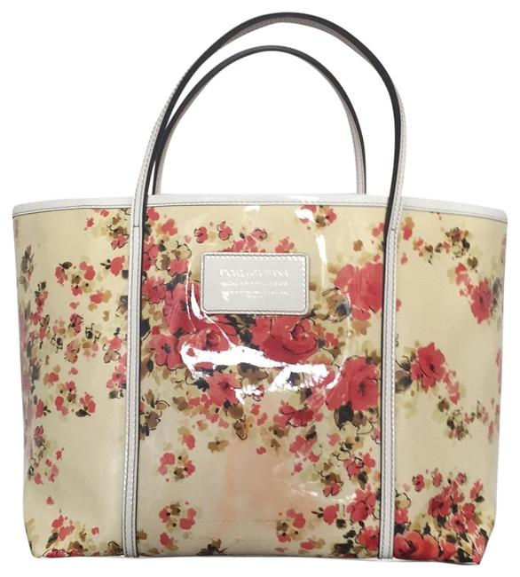 Item - Miss Escape Floral White Patent Leather Tote