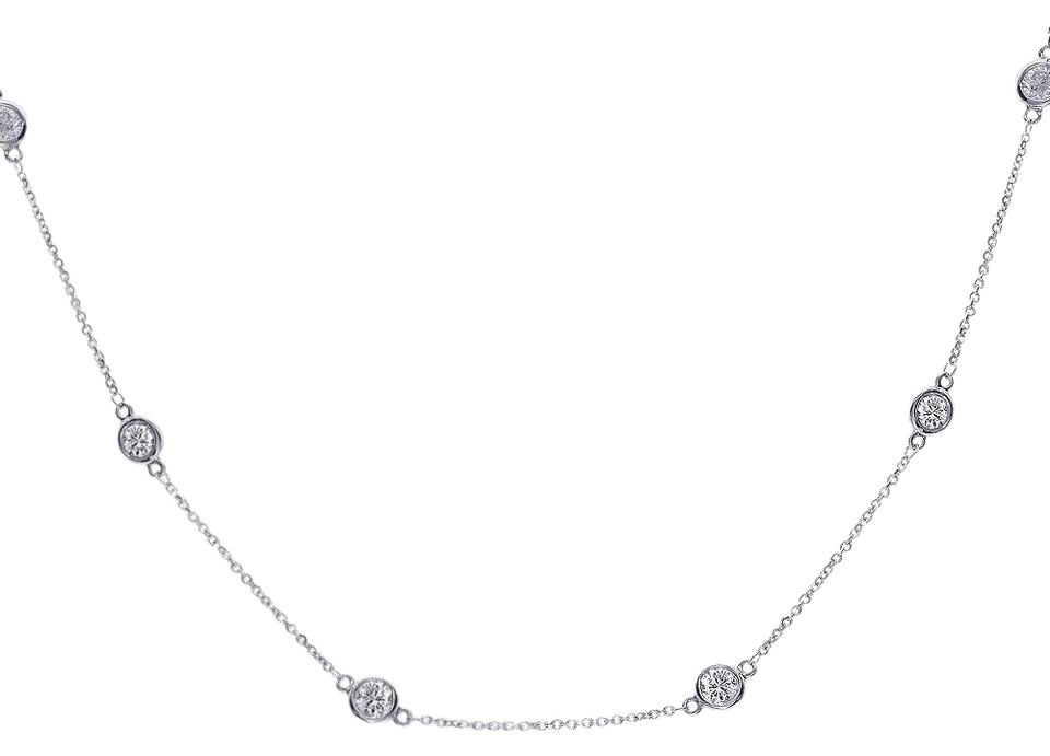 1240827b2e731 Avital & Co Jewelry 14k White Gold 1.80 Carat Round Cut Diamonds By The  Yard Necklace 67% off retail