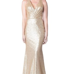 Bari Jay Gold Sequins 1601 Formal Bridesmaid/Mob Dress Size 14 (L)