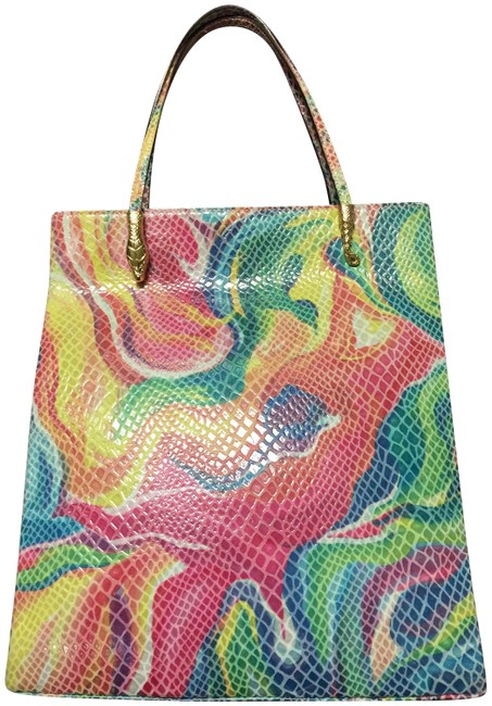 Item - Bag Snake Head and Tail Accent Bag. Multicolor Leather Tote