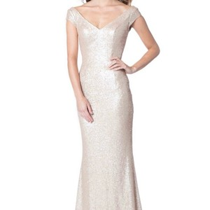 Bari Jay Champagne Sequins 1617 Feminine Bridesmaid/Mob Dress Size 16 (XL, Plus 0x)