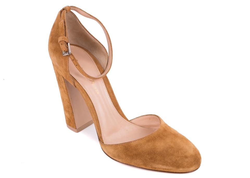 afe914130b26 Gianvito Rossi Tan Suede Round Toe Ankle Strap Block Pumps Size EU ...