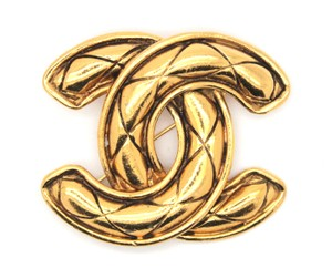 Chanel Extra Large CC quilted gold hardware brooch pin charm
