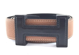 Hermès Extremely RARE 32mm Leather Wood Quizz H Reversible belt size 75