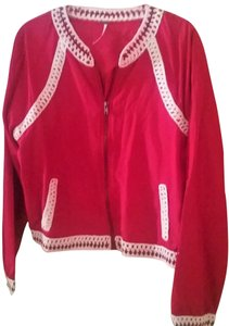 Free People Summer Casual Limited Edition Embroidered Red Jacket