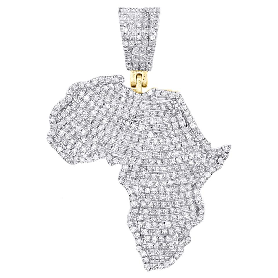 06e81e9afbbda Jewelry For Less Yellow Gold 10k Diamond Africa Continent Map Pendant 0.90  Ct Charm 70% off retail