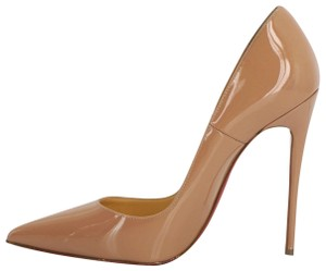 Christian Louboutin Patent Leather Pointed Toe So Kate 120mm Nude Pumps