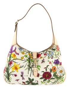 Gucci Made In Italy Canvas Leather Floral Hobo Bag