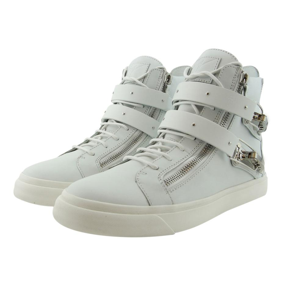 4f4d88d1a5fe Giuseppe Zanotti White New Gz Men Leather Dual Ski Buckle Accessory High Top  Lace-up   Zip Sneakers