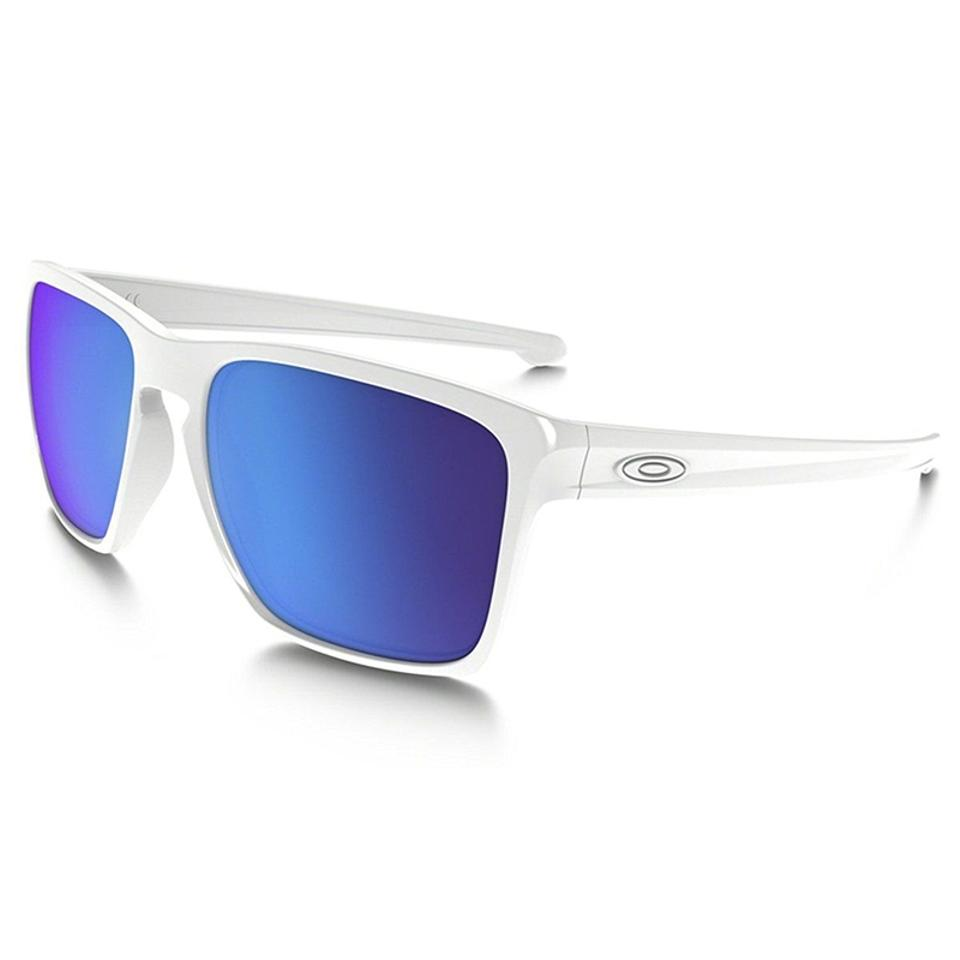 ad5ac3982eb Oakley Oakley Men Square Sunglasses OO9346-02 White Frame Blue Mirrored Lens  Image 0 ...