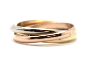 Cartier 18K Trinity white gold yellow rose pink gold ring size 52