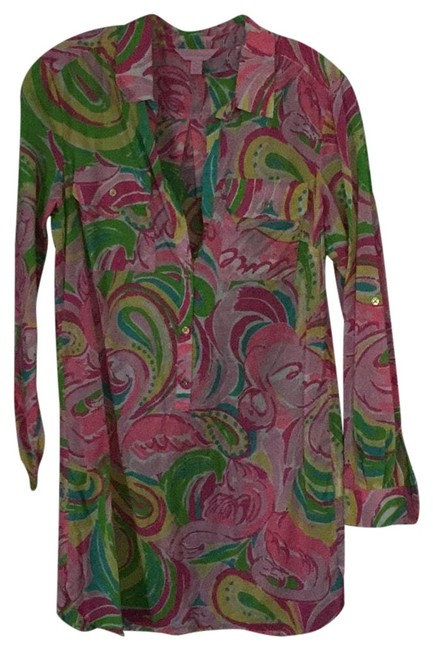 Item - Pink Green Yellow Orange Tunic Cover-up/Sarong Size 4 (S)