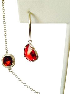 2 Piece Set Faceted Red Crystal & Silver Rope Halo Necklace & Earrings