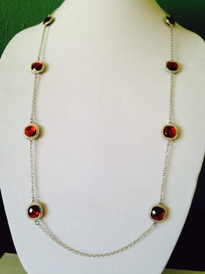 Other 2 Piece Set Faceted Red Crystal & Silver Rope Halo Necklace & Earrings