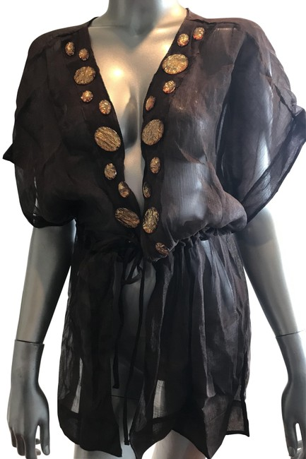 Item - Brown/Gold Sexy Cover Cover-up/Sarong Size 8 (M)