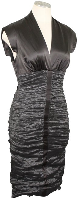 Item - Collection Chocolate and Metallic Dark Olive Style Bq0125 Mid-length Cocktail Dress Size Petite 6 (S)