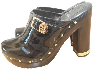 Tory Burch Mules Leather Wood Black Platforms
