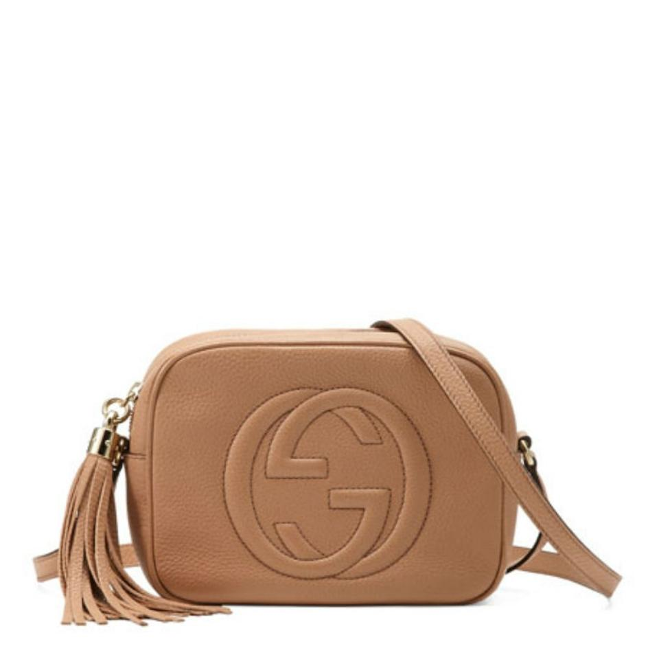 568db327bc5 Gucci Soho Disco Camelia Petal Pink Rose Beige Leather Cross Body ...
