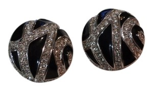 Dior Vintage Christian Dior rhinestone enamel clip on earrings!!!