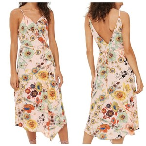 Topshop short dress Pink / Peach Wrap Belted Ruffle Floral on Tradesy