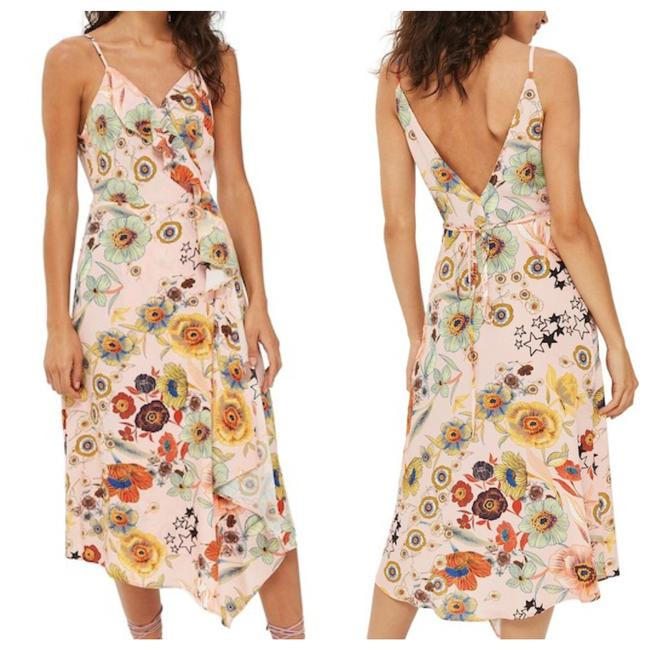 Item - Pink / Peach Floral Wrap with Ruffle Mid-length Short Casual Dress Size 4 (S)