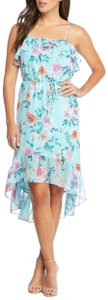 Charles Henry short dress Blue Floral Ruffle High-low Spring Summer on Tradesy