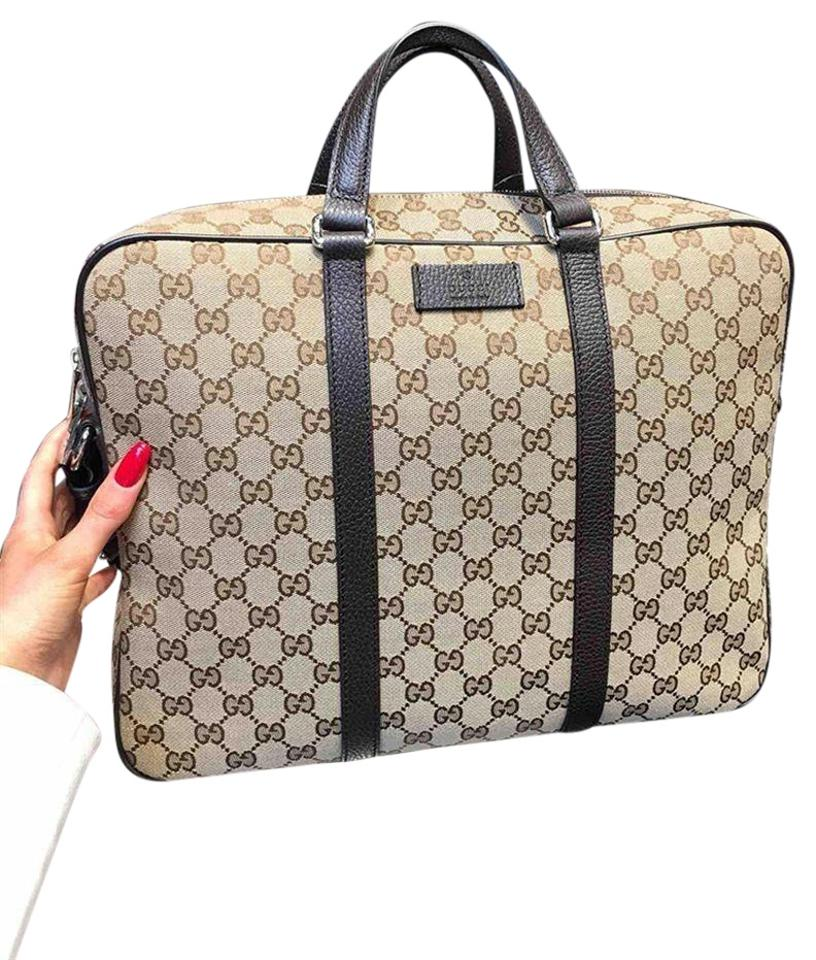9aba76e6f58 Gucci Gucci-double-logo-gg-briefcase-laptop-unisex-new-with-tags-authentic  Beige Brown Laptop Bag
