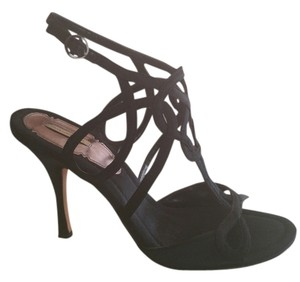Max Studio Black Satin Strappy Sandals