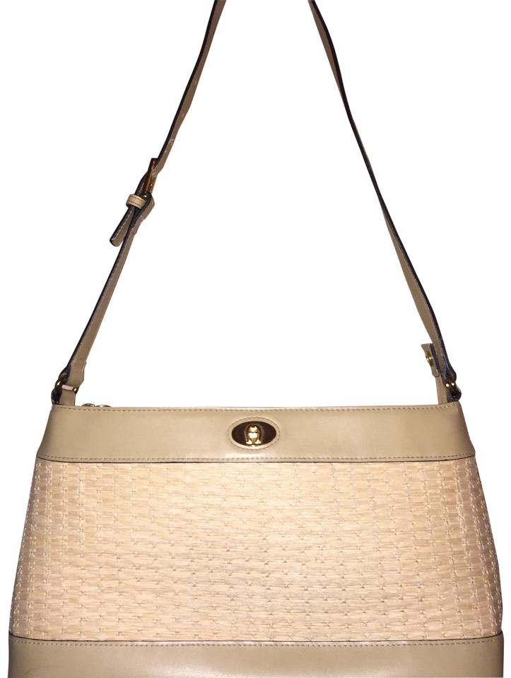8816ff299eb Etienne Aigner Handbag Ivory Faux Leather Straw Shoulder Bag - Tradesy