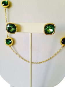2 Piece Set Faceted Green Crystal & Gold Rope Halo Necklace & Earrings