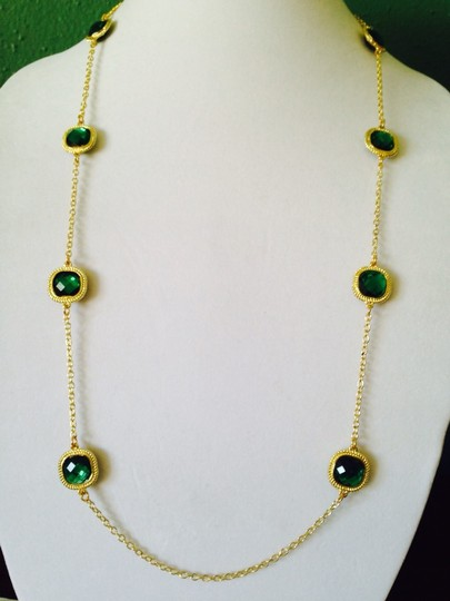 Other 2 Piece Set Faceted Green Crystal & Gold Rope Halo Necklace & Earrings