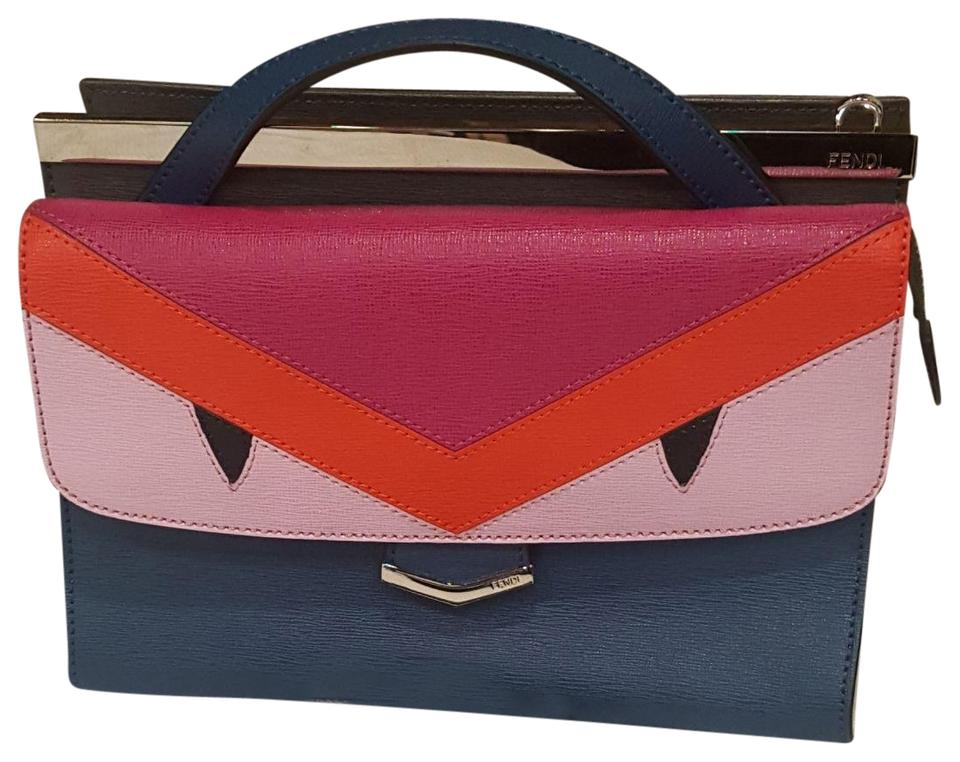 Fendi Demi Jour Small Red (Monster) Blue Pink and Fushia Leather Cross Body  Bag d81743b022